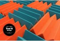 mix and match acoustic foam colors - teal and orange